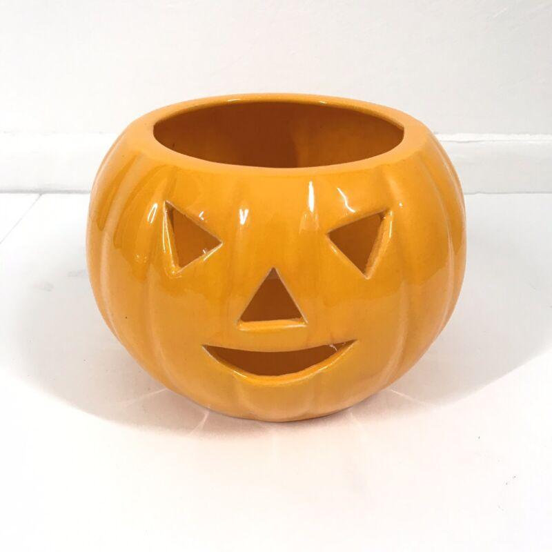 Vintage Halloween Pumpkin Jack O Lantern Ceramic Candle Holder Candy Dish