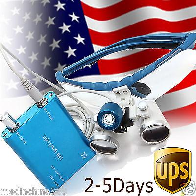 Blue Dental Surgical Binocular Loupes 3.5x Optical Glass 420mm Led Head Light