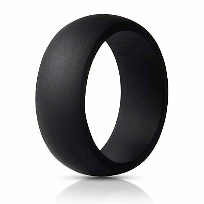 Flexible Silicone Wedding Engagement Ring for Men Black Rubber Band Bands without Stones