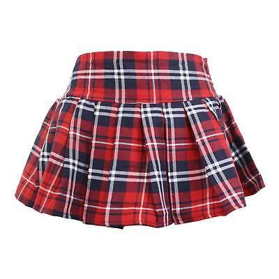 PLUS Sz Women's Sexy School Girl Skirt Red Plaid Pleated Naughty Britney Costume