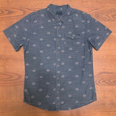 Billabong Button Up Short Sleeve Shirt Black Size Large Men Rare Geo Patterned