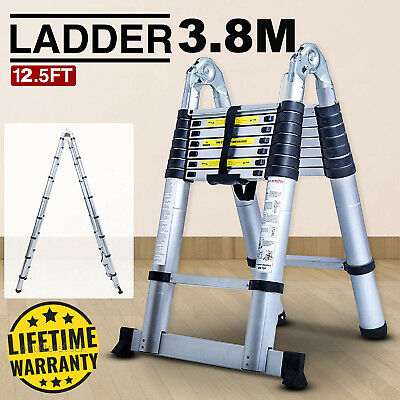 3.8M A Frame Folding Telescopic Ladder Extendable Folding Step Long Loft Ladders