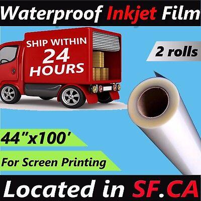 2 Rolls44x 100waterproof Inkjet Transparency Film Paper Silk Screen Printing