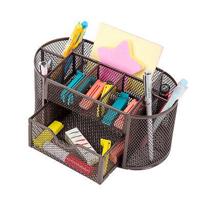 Desk Office Table Organizer Supplies Metal Mesh Pen Pencil Holder Storage Brown