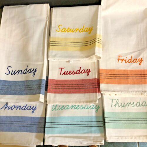 Martha Stewart Tea Dish Towels Days Of Week Set 7 Kitchen Decor Dishcloth NWT