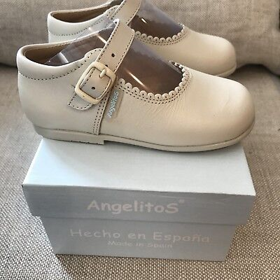 Angelitos Baby Toddler Girl Mary Jane Beige Ivory Cream Shoes Size EUR 24 US - Toddler Ivory Shoes