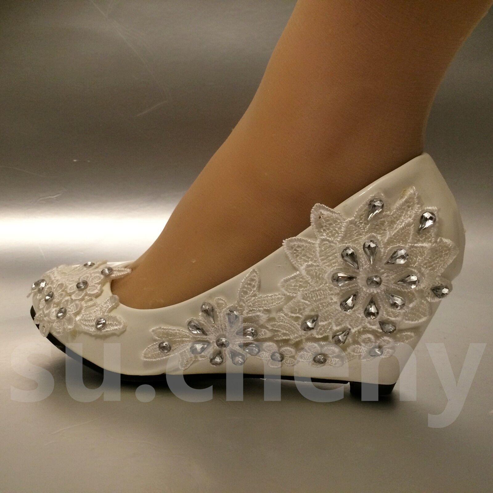 2 quot heel white ivory wedge lace flowers wedding