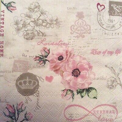 paper napkins decoupage x 2 vintage flowers 25cm