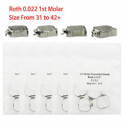 Dental Orthodontic Roth 022 1st Molar Buccal Tube Prewelded Bands 29 To 43