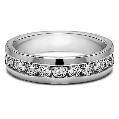 0.50ct  Diamond Mens Engagement Rings Solid 14K White Gold Band Round I-J/SI1