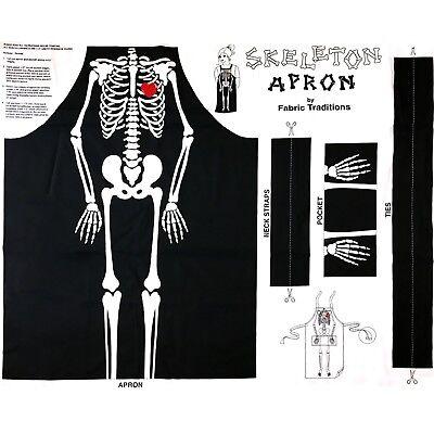 Halloween Skeleton Bones Cotton Fabric Apron Cut & Sew Project 36