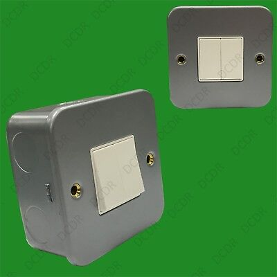 Doble (2) Interruptor 2 Toma 2 Salidas 10AX Metal Clad Pared Red...