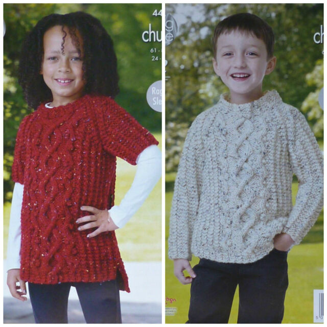 KNITTING PATTERN Childrens Round Neck Cable Tunic & Jumper Chunky King Cole 4420