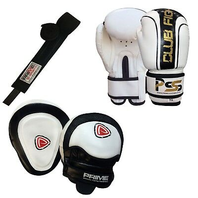 Kids boxing gloves punch bag junior mitts & focus pads hand wraps training set 8 (Boxing Training Bag)