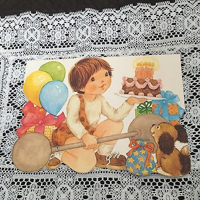 Vintage Greeting Card Birthday Caveman Boy Weight Lifter Cake Dog