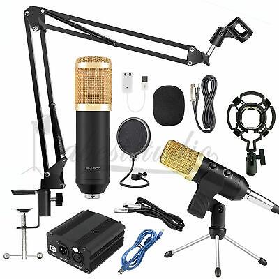 "Audio Vocal Studio Condenser Microphone Kit LED 9"" Ring Light Video Live Tripod"