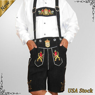 German Bavarian Trachten Oktoberfest Mens Short Lederhosen Outfit Costume SFT55