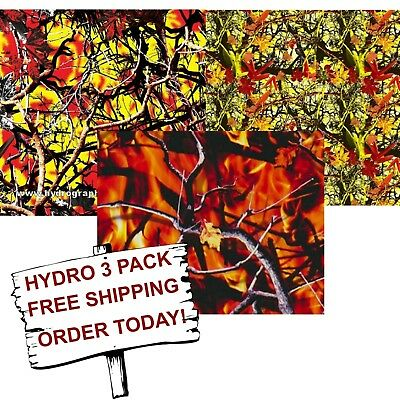 Hydrographic Film Water Transfer Printing Film Hydro Dip Fire Camo 3 Pack