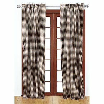 Curtains Ideas black and khaki curtains : BLACK CHECK Scalloped Panel Set Curtains Rustic Khaki Country ...