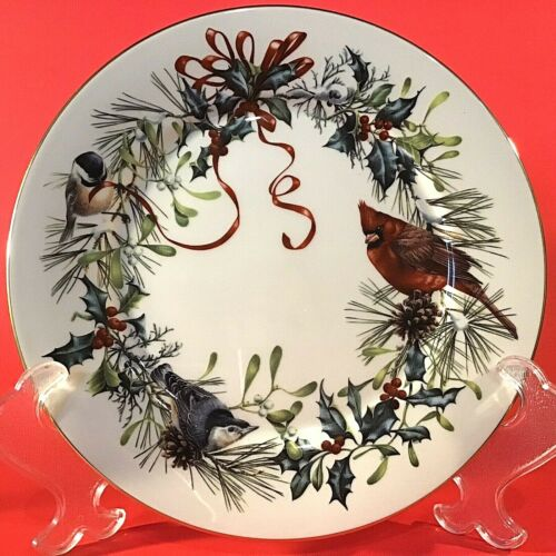 "LENOX WINTER GREETINGS PLATE VINTAGE 11"" BIRDS RIBBON MISTLETOE 1995 IVORY CHINA"