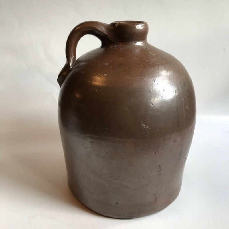 Old Vintage Antique Whiskey Jug Brown Stoneware Crock Primitive Country Farm