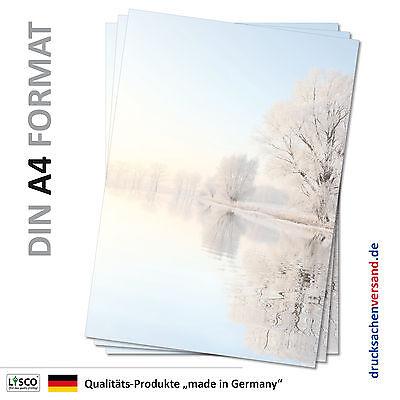Motivpapier Briefpapier (Wintersee-5061 A4 25 Blatt) Winter See vereiste Bäume