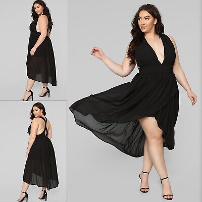 Fashion Nova The Goddess Within Midi Dress Plus Size 2X Black NWT - Plus Size Goddess Dresses