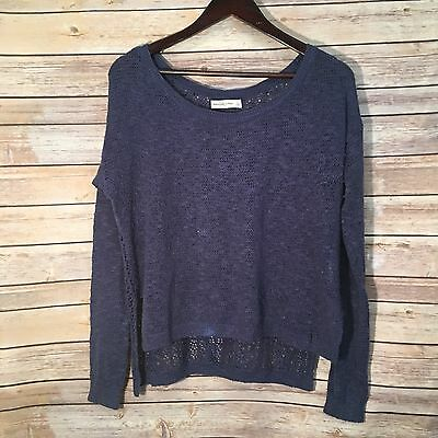 Abercrombie Fitch Womens Sweater Size Large Blue Lightweight Open Bottom