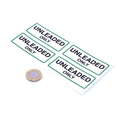 UNLEADED ONLY Fuel Filler Cap Stickers x4 75mm Petrol Gasoline Road Race Car
