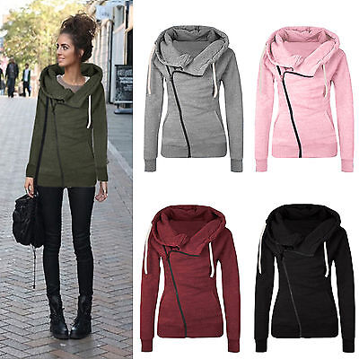 Womens Zip Up Hoodie Coat Sweatshirt Long Sleeve Pullover Jacket Coat Jumper Top