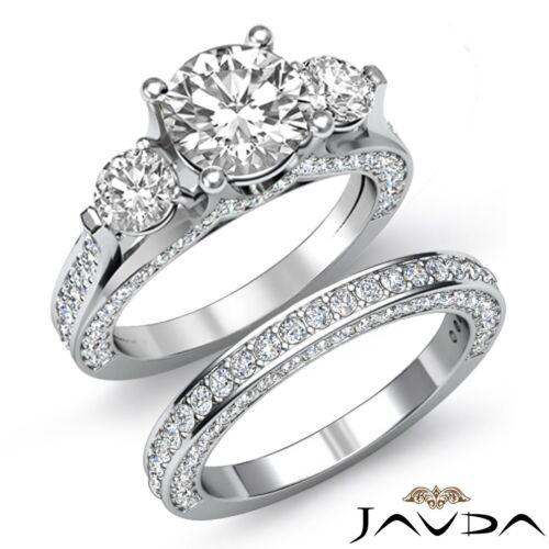 3 Stone Bridal Set Round Diamond Engagement Ring GIA F SI1 14k White Gold 4.5ct