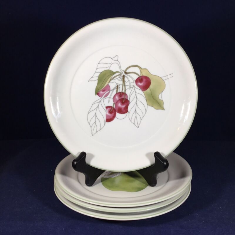 "Set-4 BLOCK SPAL Watercolors 8"" PLATES Mary Lou Goertzen Apple Plum Pear Cherry"