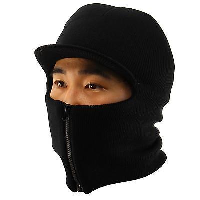 Winter Men's Visor 2ply Knit Zipper Up Zip Face Mask Balaclava Ski Snow Black