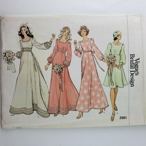 Vogue Bridal Design Pattern 2981 UNCUT  Misses