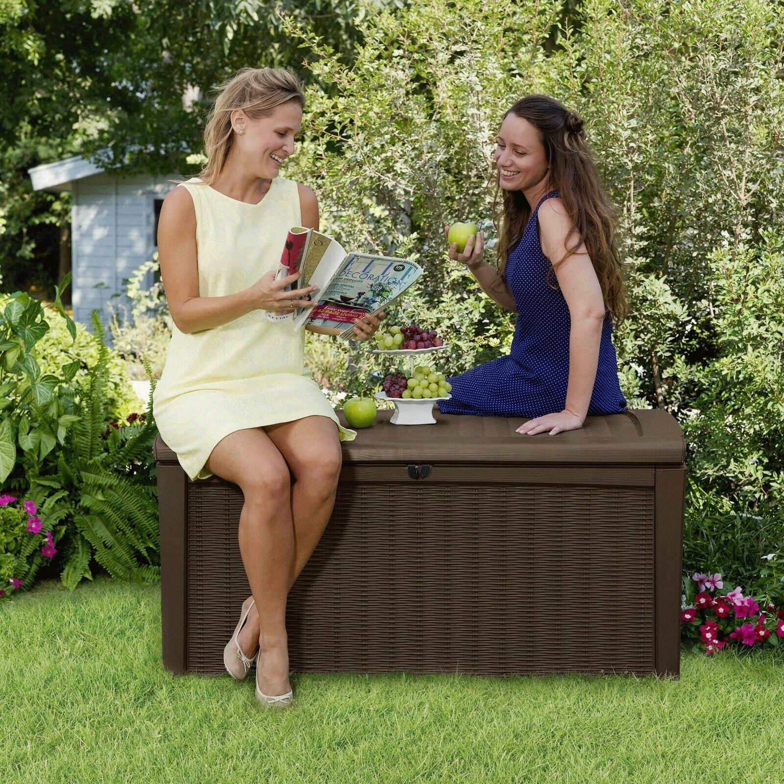 Keter Garten-Box, Sitzbank, Aufbewahrungsbox, Kissenbox, Auflagenbox Borneo 400L