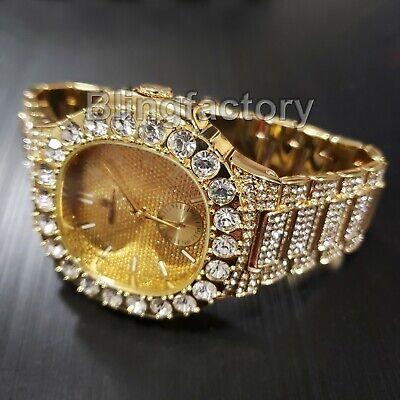 Men's Luxury Hip Hop Gold finished Designer Style Rapper's Big CZ Bezel -