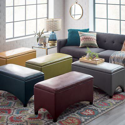 Premium Bonded Leather Storage Bench Ottoman Coffee Table Nailheads Choose Color ()