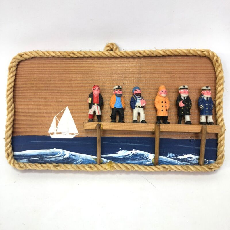Vintage Hand Painted Wooden Board Sailors Boat Wall Hanging Decoration