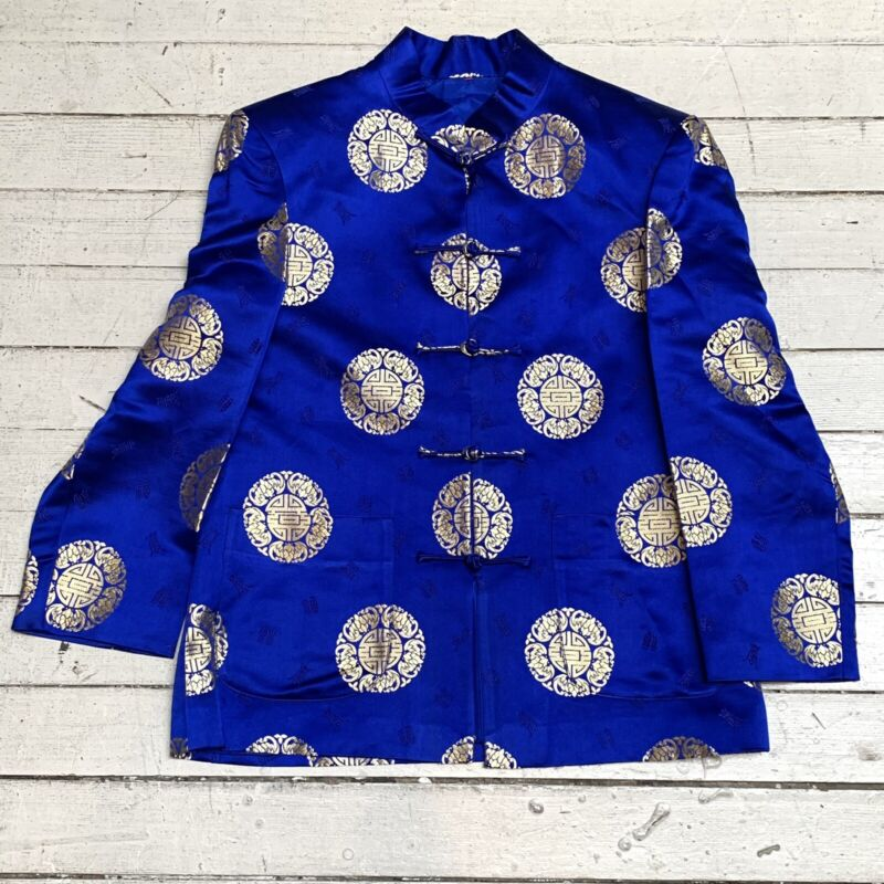 Vintage Chinese Characters Royal Blue & Gold Satin Jacket