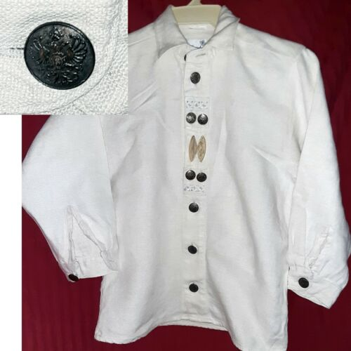 TRACHTEN OKTOBERFEST Boys Linen Shirt BAVARIAN EAGLE Buttons Bone Detail 8
