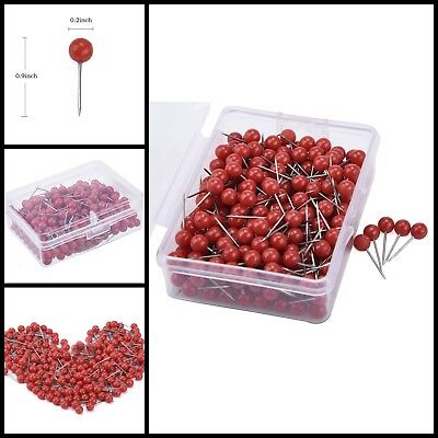 300Pcs Map Office Paper Poster Wall Board Steel Needle Red Push Pins Thumb Tacks - Red Poster Board