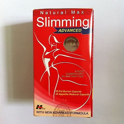 Max Slimming Advance / 5 Boxes / 250 Capsules / Free Shipping US / Red Natural
