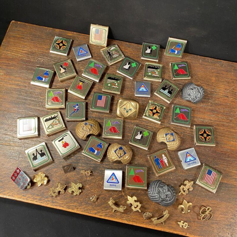 Vintage Boy Cub Scout Belt Loop Merit Skill Award Metal Badges Pins PRIORITY