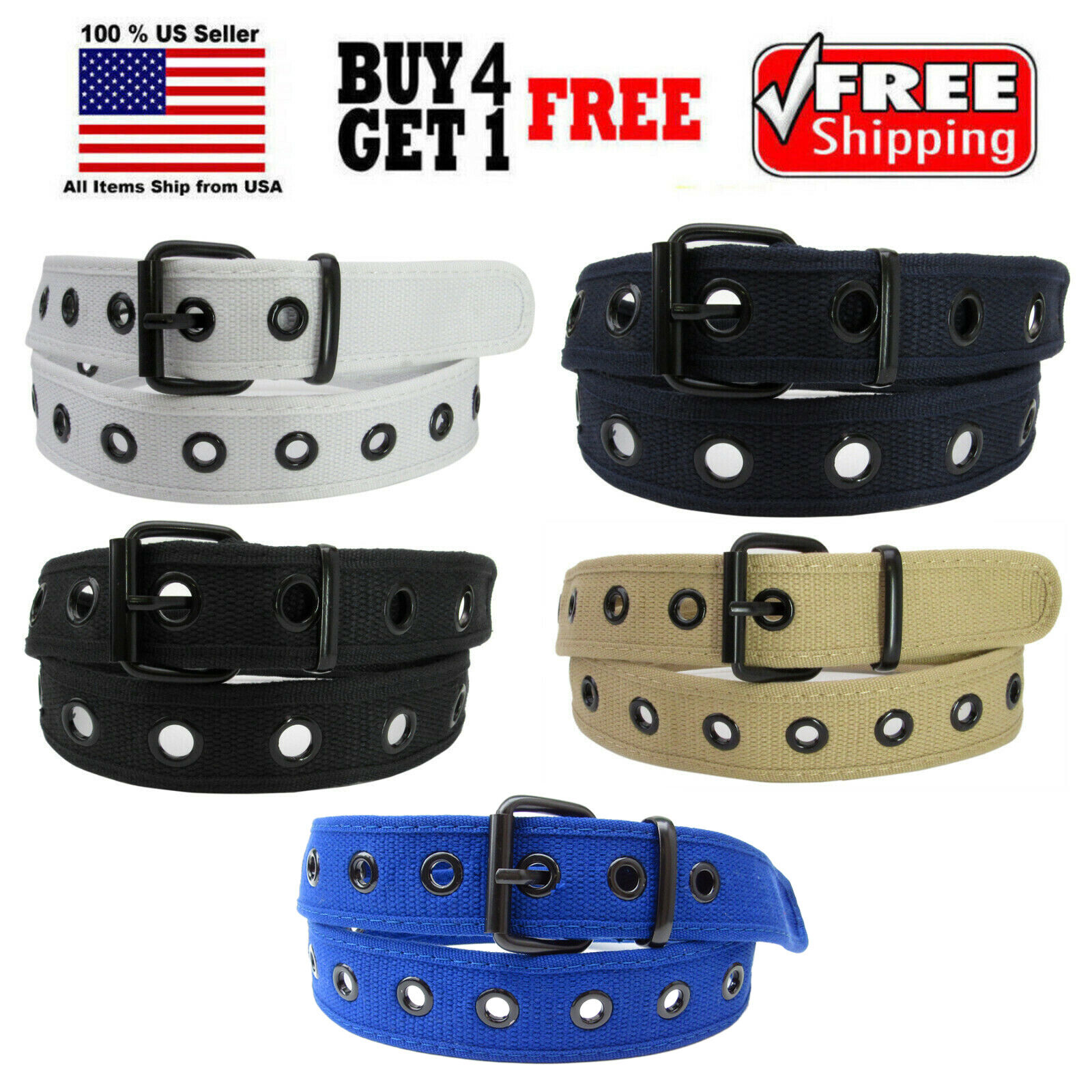Men Women Unisex 1 Holes Row Grommet Stitched Canvas Fabric Military Web Belt Belts