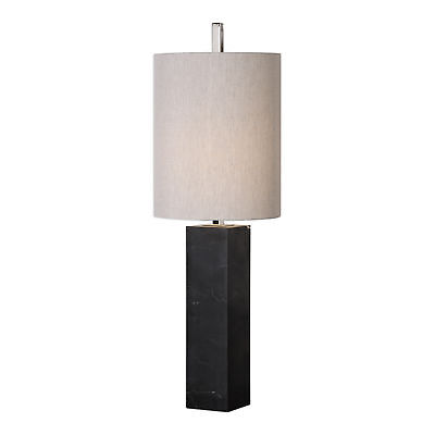(Black Marble Column Buffet Accent Table Lamp Tall Shade Silver Modern Minimalist)