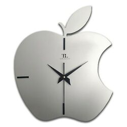 TAD LUCID Apple Analogue Wooden Wall Clock, 12 x 14 Inch (Silver)