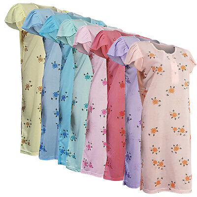 Kurzarm-nachthemd (Damen Nachthemd kurzarm mit Knopleiste knielang Rosenmotiv verschiedene Farben)