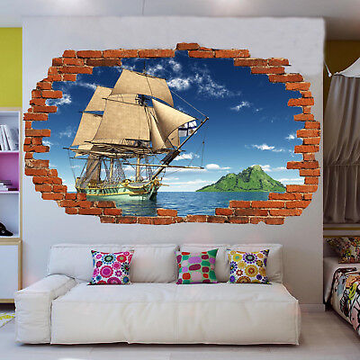 ISLAND SAIL PIRATE SHIP WALL STICKERS 3D ART DECAL MURALS  POSTER ROOM DECOR VV4 ()