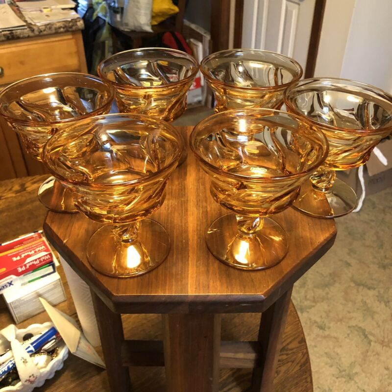 Fostoria Jamestown Set Of 6 sherbet / champagne  Amber Glasses