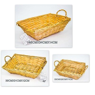 2 X Willow Basket Rectangle with Handle Cane Basket Natural Colour Storage